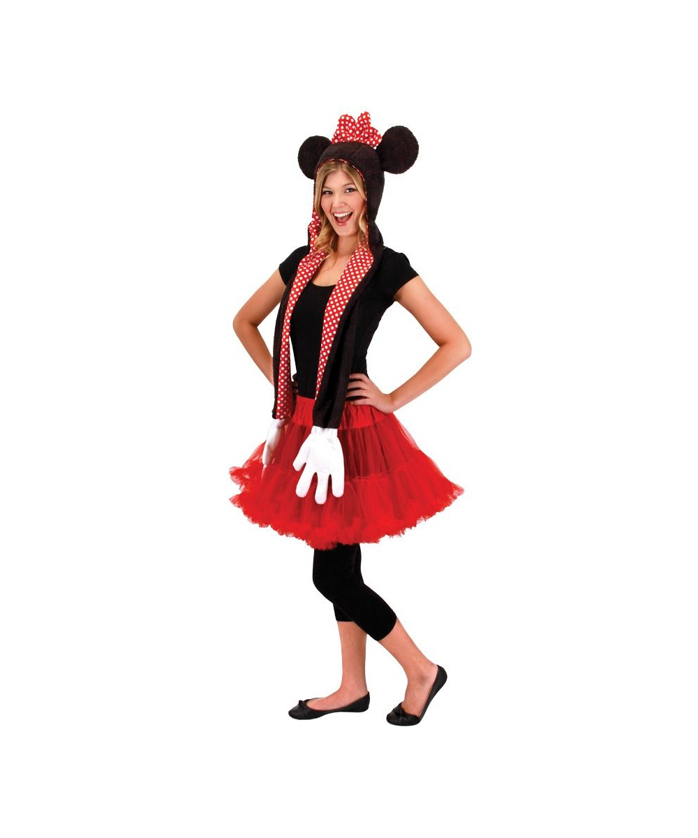 minnie mouse hooded scarf teen costume. Black Bedroom Furniture Sets. Home Design Ideas