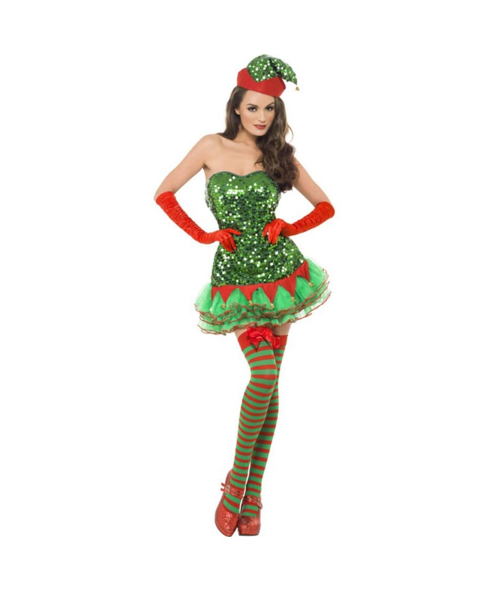 ... Costumes → Women Costumes → Womens Sequined Elf Dress Costume Naughty Santa Claus Costume For Men