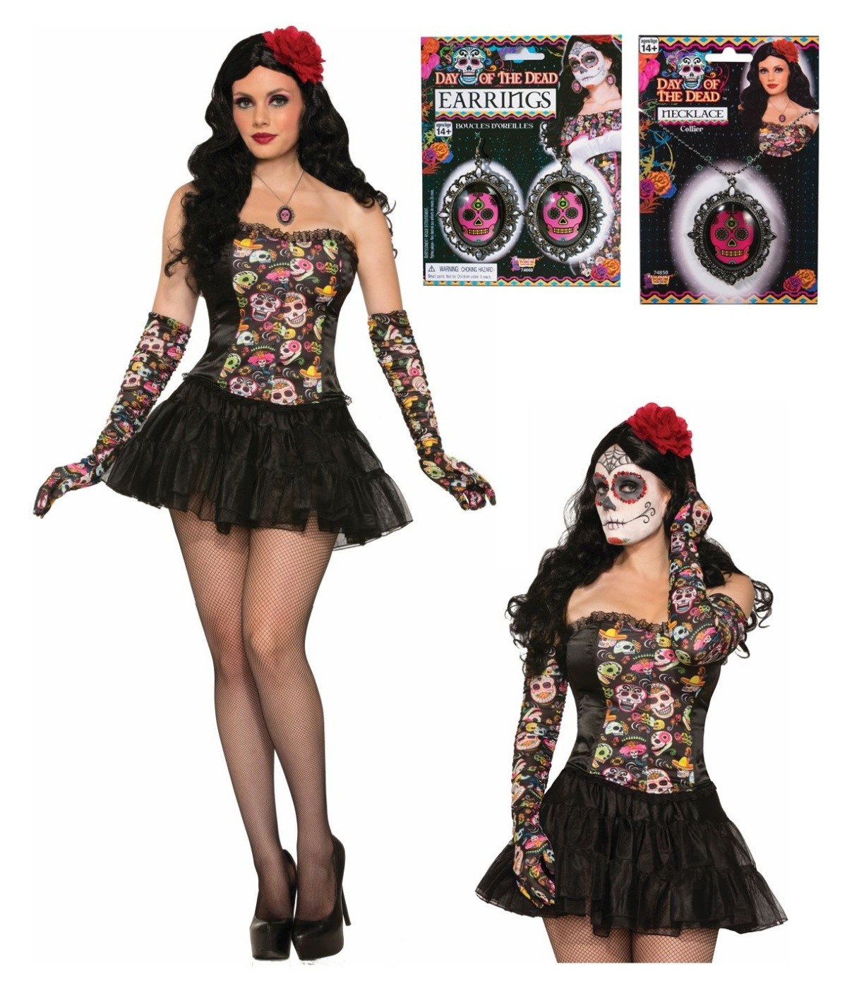 Day of the Dead Women Earrings with Molded Skulls - Costume ...