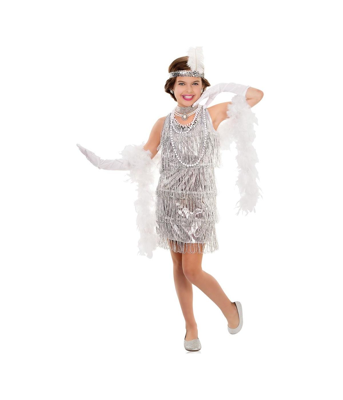 Girl costume dazzling silver flapper girls 1920s costume