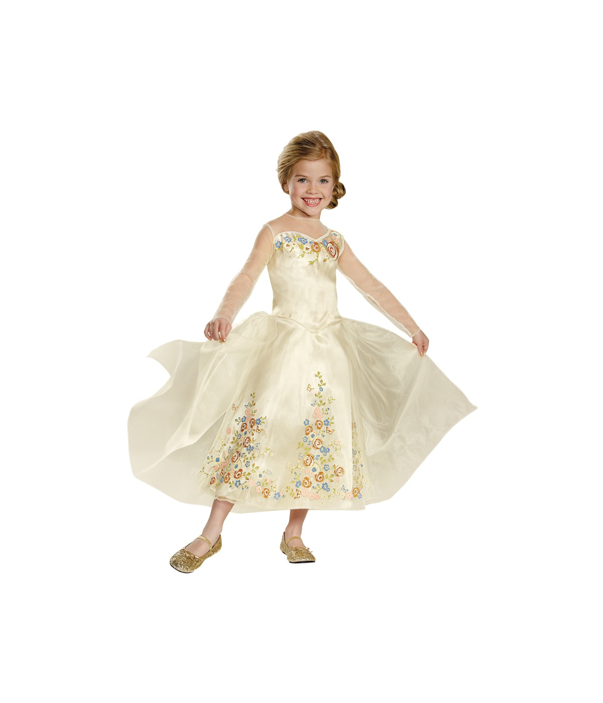 Kids disney cinderella wedding dress deluxe girls costume for Cinderella wedding dress up