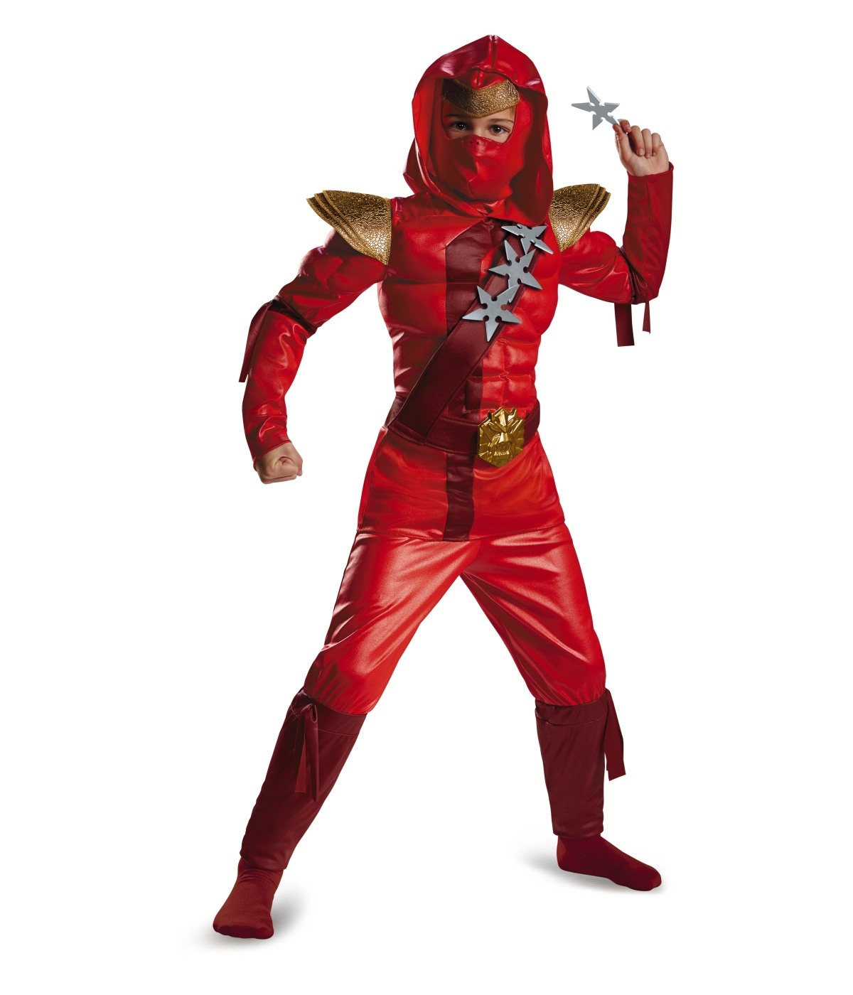 fiery red ninja boys muscle costume. Black Bedroom Furniture Sets. Home Design Ideas