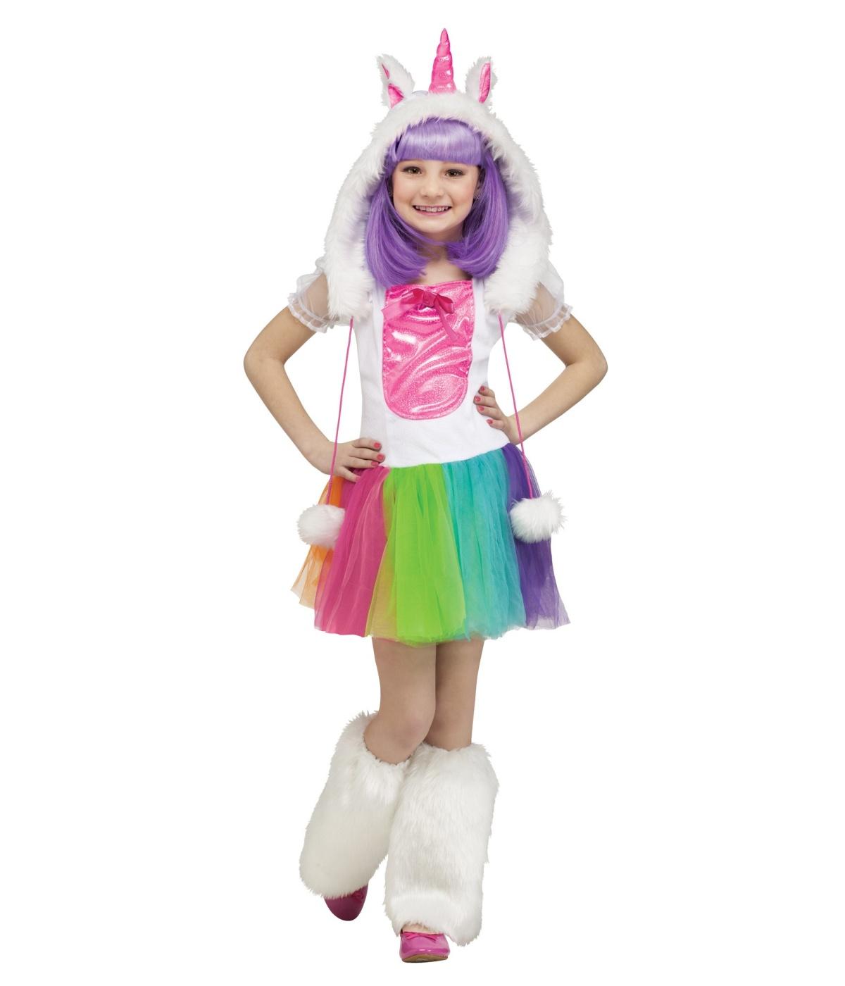 Kids Rainbow Unicorn Pony Girls Costume