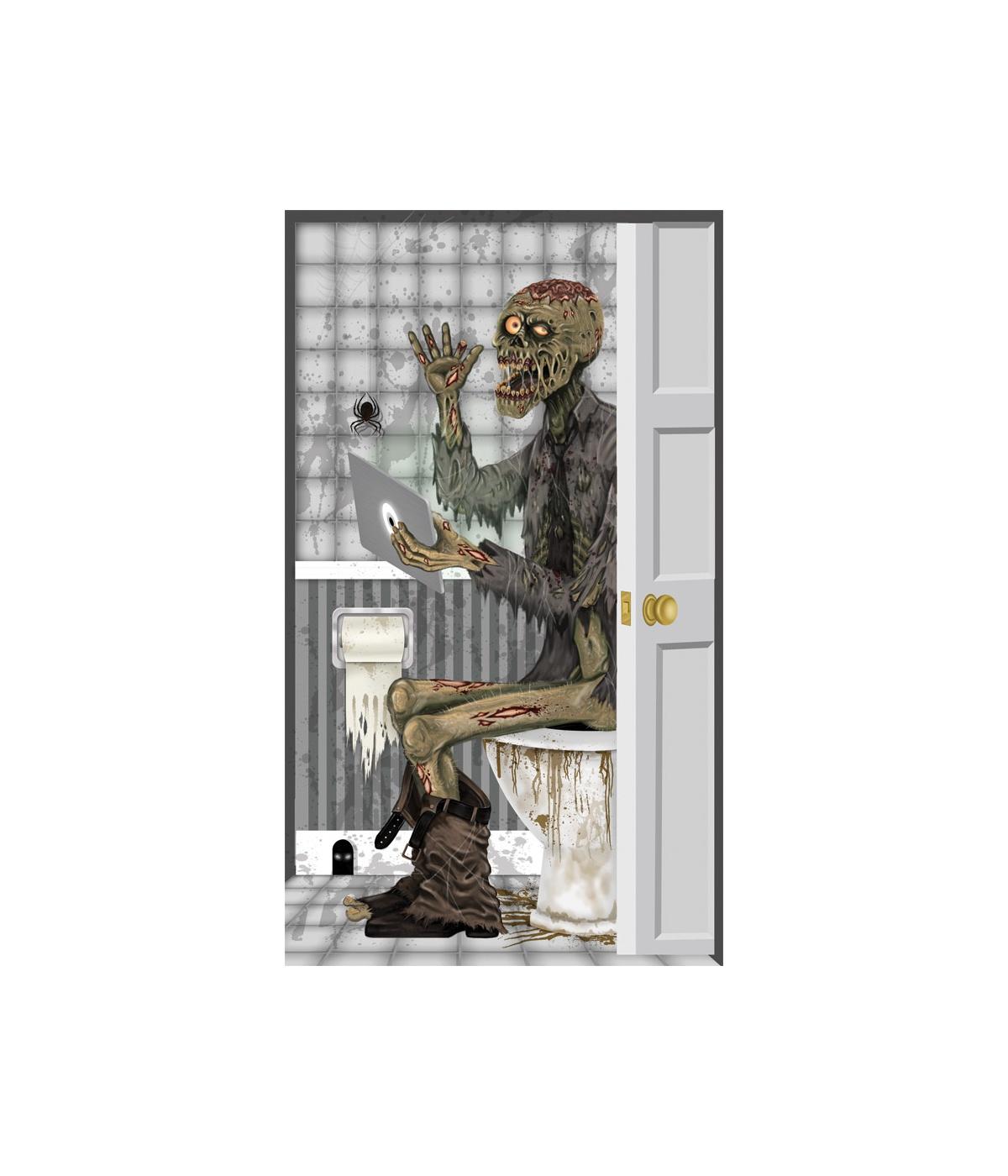 Zombie toilet door cover decoration props decorations for Decoration zombie