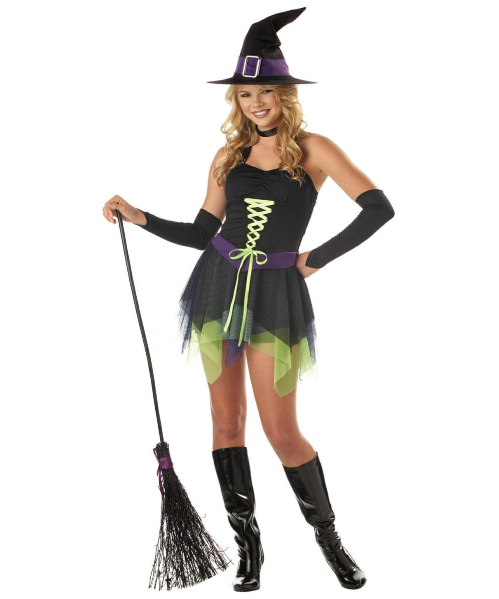 Purple Stripe Witch Costume - Teen Halloween Costume - Witch ...