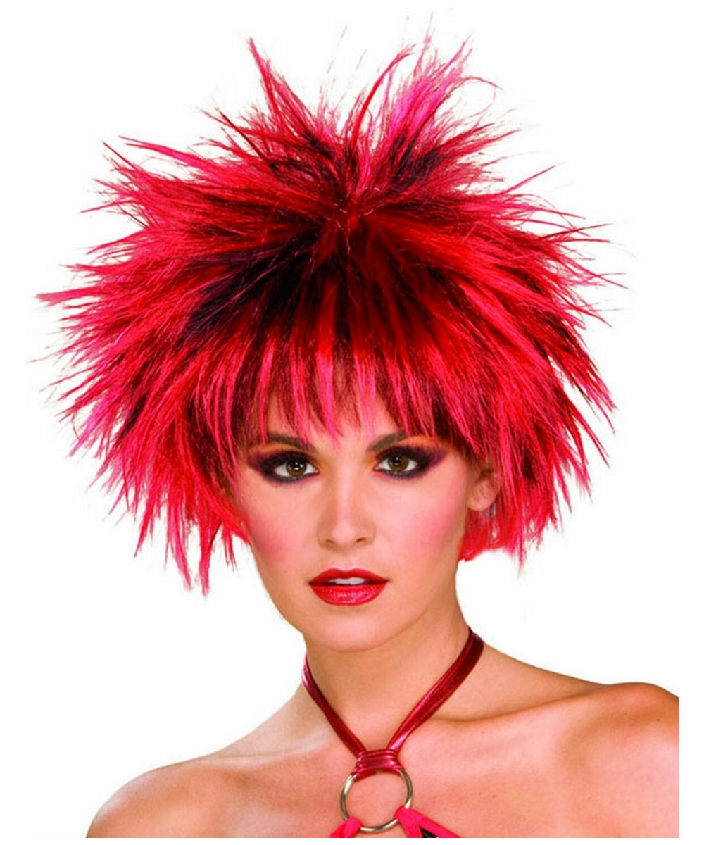 80s spiked wig red and black adult wig halloween wig at wonder costumes - Red Wigs For Halloween