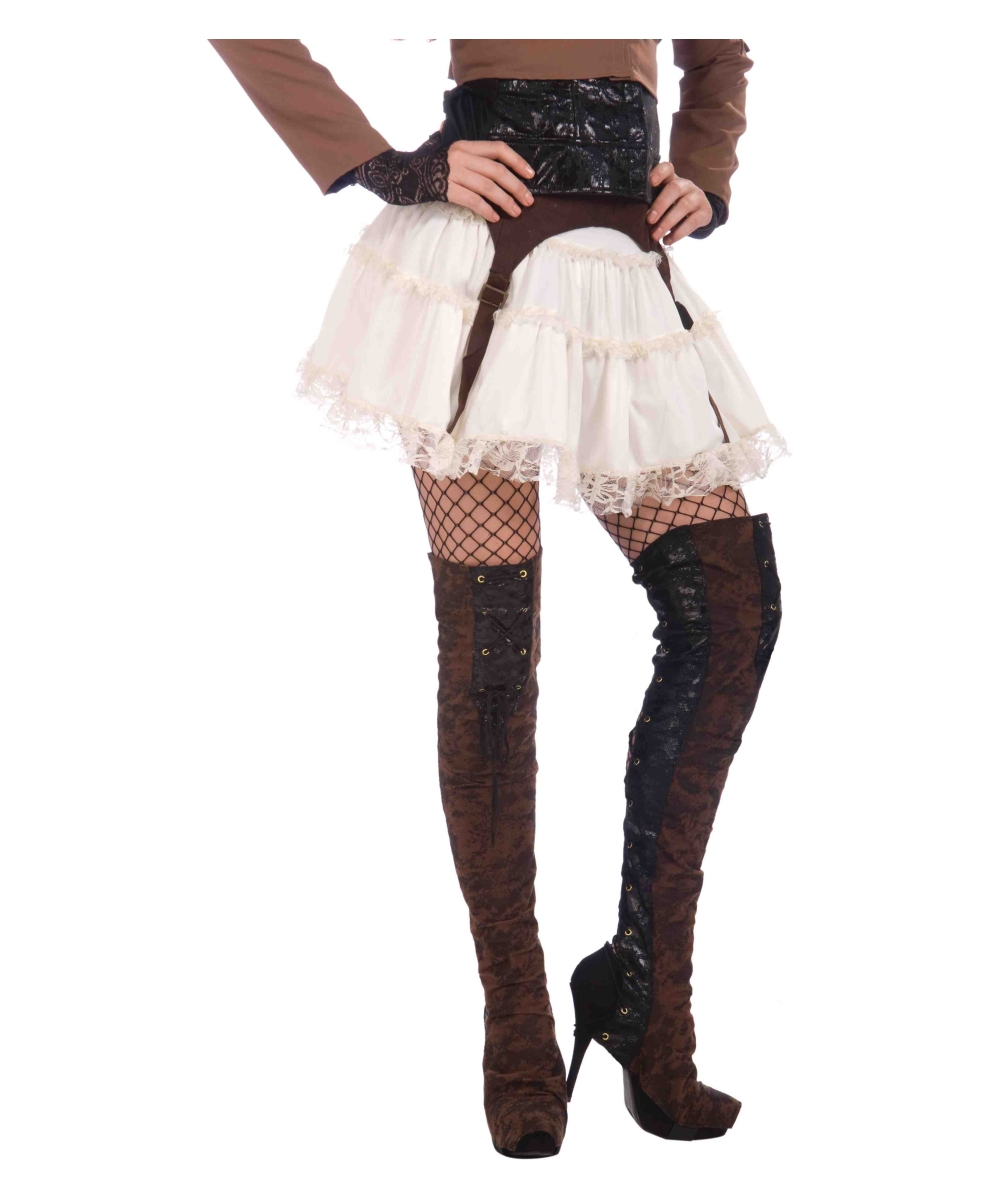 steunk thigh high boot covers costume accessory