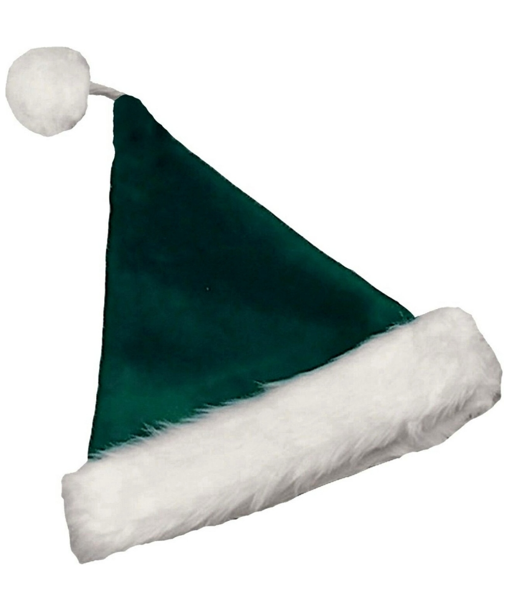 Velvet green santa hat adult at wonder costumes