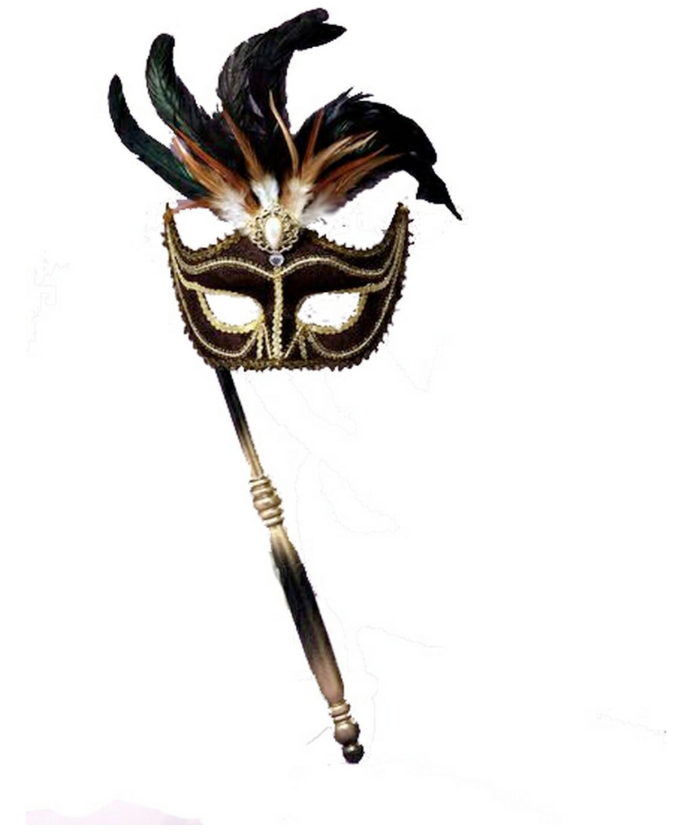Black Feather Stick Mask