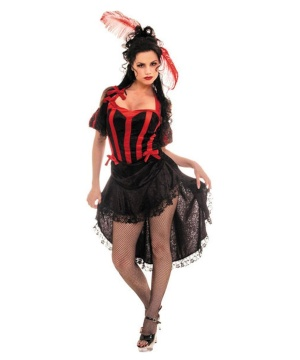 Can Can Black Red Womens Costume