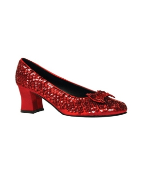Red Sequin Woman Shoes Costumes