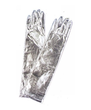 Gloves Elbow Length Metallic Silver