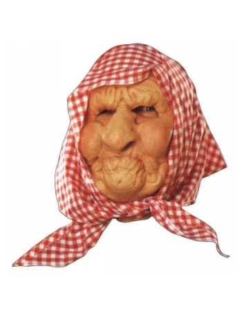 Old Lady With Scarf Halloween Mask Costume Mask