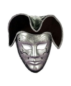 Silver Face With Black Hat Venetian Mask