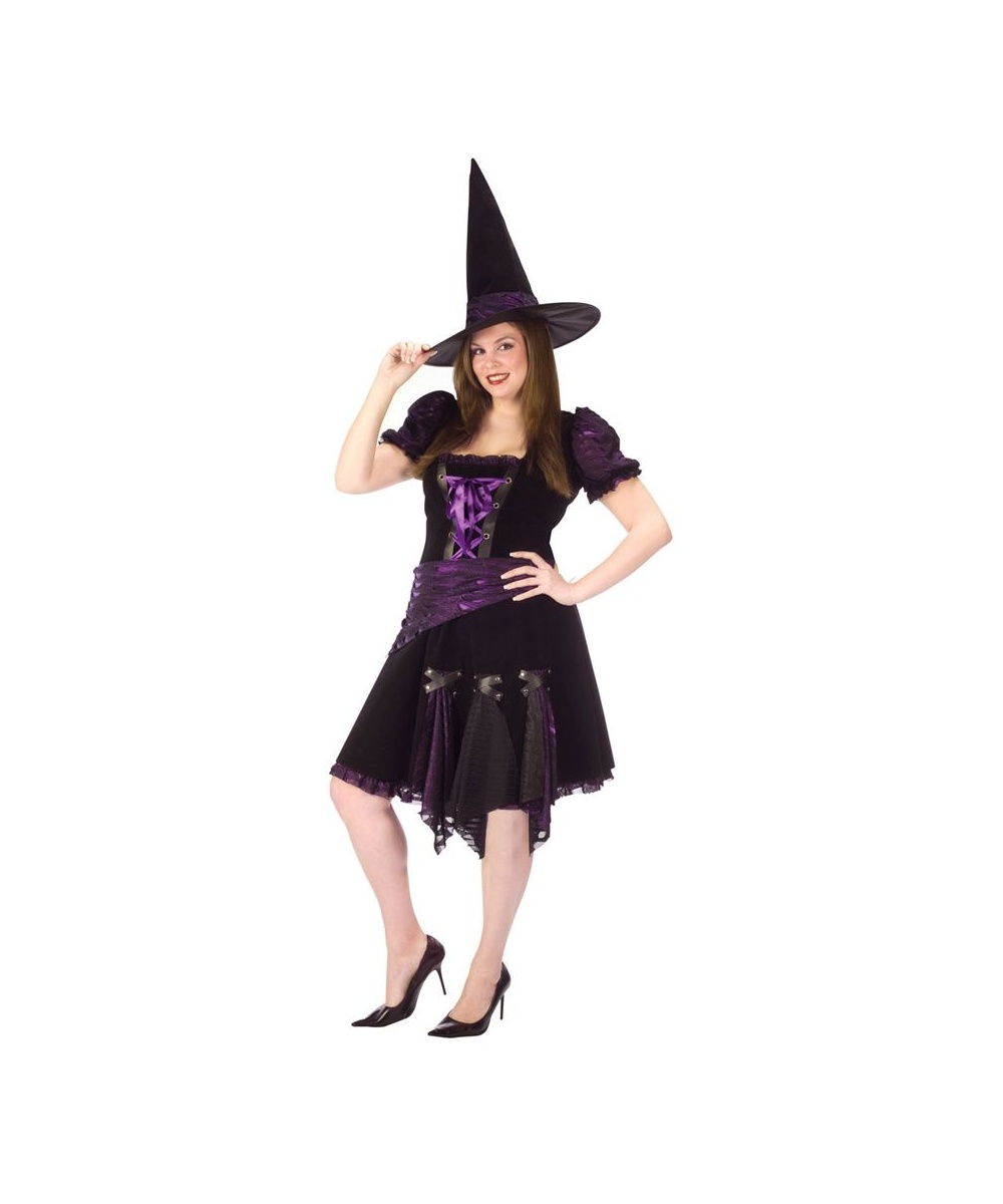 adult purple punk witch plus size halloween costume - Halloween Punk Costume