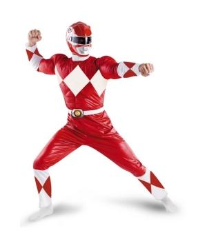 Mens Red Power Ranger Costume