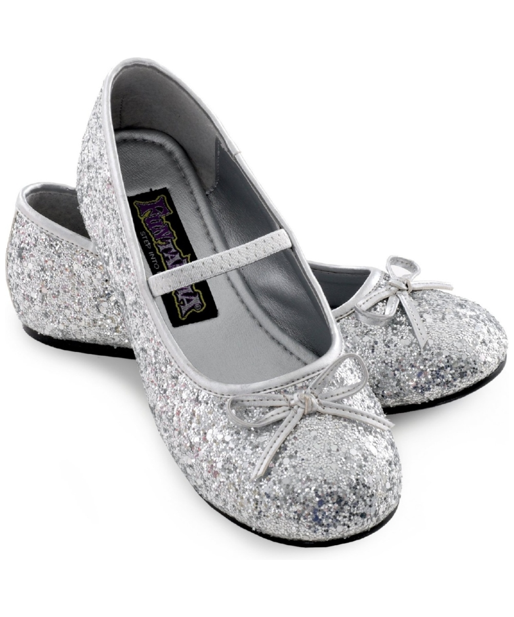 Silver sparkle ballerina kids flat shoes costume shoes