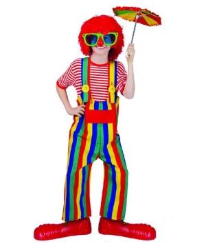 Boys Striped Clown Overalls Costume