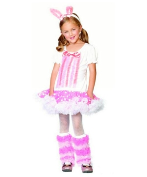 Girls Adorable Fluffy Bunny Costume