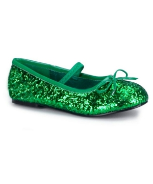 Green Sparkle Flats Child Shoes