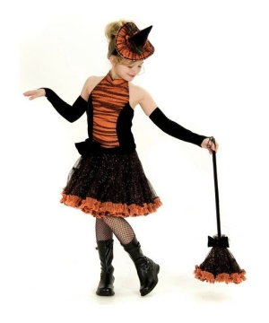 Orange Tutu Witch Kids Costume