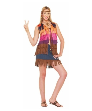 Womens Hippie Fringed Vest Costume