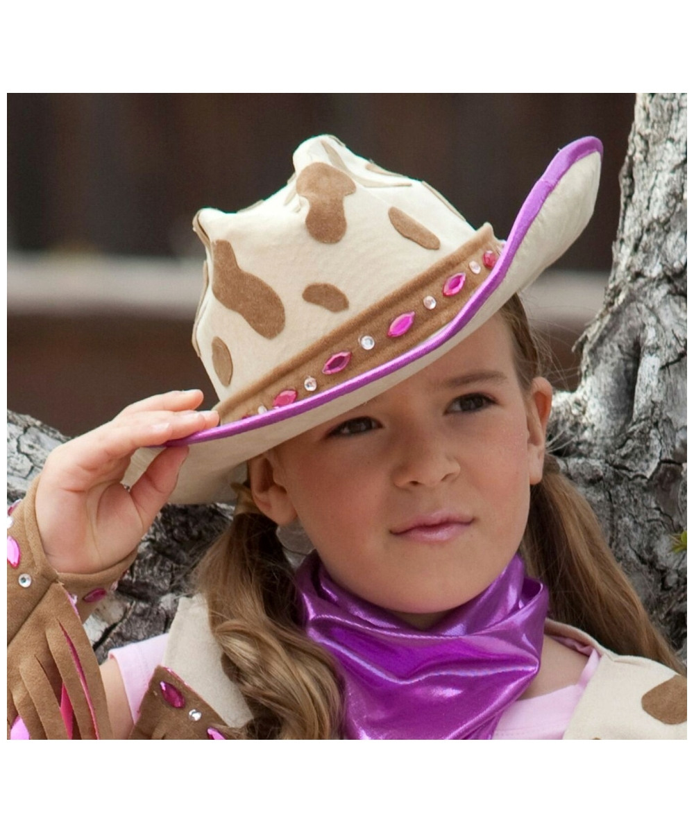 Girls Rhinestone Cow Kids Hat