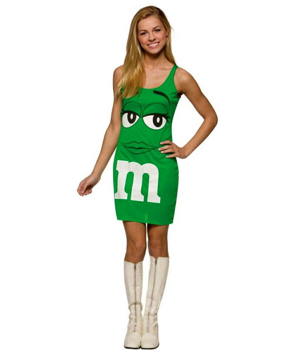 m and m green tank dress teentween costume halloween costume at wonder costumes - Green Halloween Dress