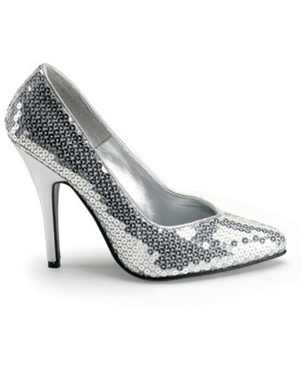 Adult Silver Sequin Heels - Costume Halloween Shoes