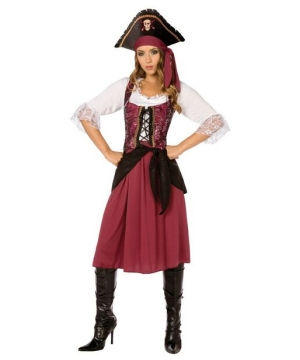 Burgundy Pirate Wench Adult plus size Costume