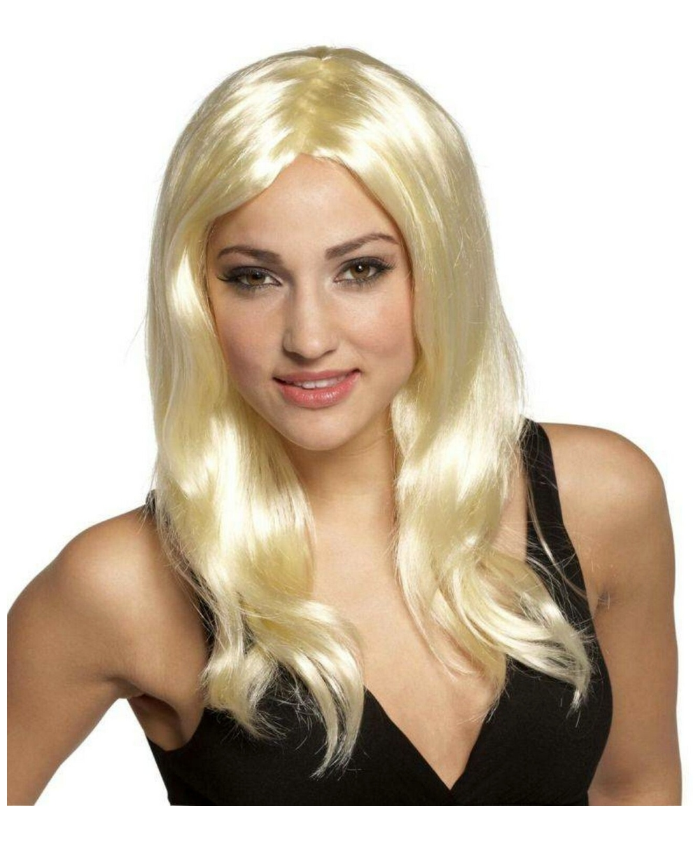 glamour gal blonde wig adult wig halloween wig at wonder costumes - Halloween Costumes With Blonde Wig