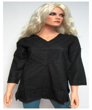 Black Embroidered Bib Kurta - Women's Shirt - Cotton Tunic