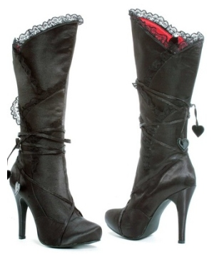 Black Satin High Heel Boots