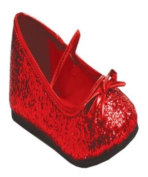 Kids Ballet Glitter Shoes Red