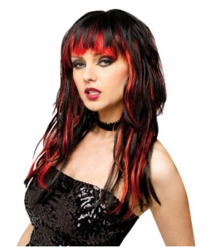 Temptress Black Red Wig