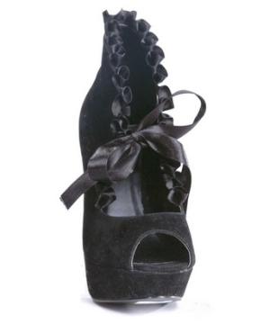 Velvet Peep Toe Shoes