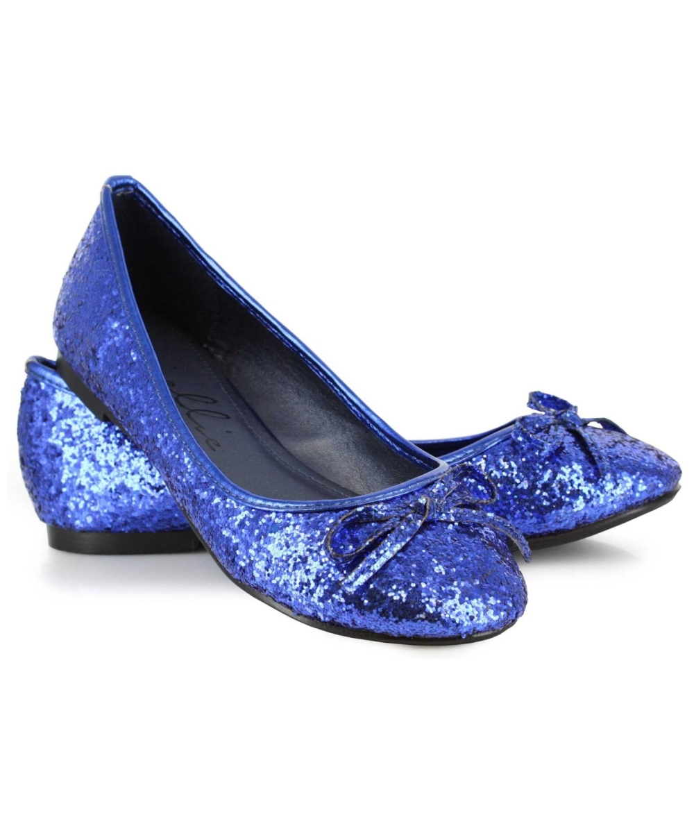 Flat Sparkly Shoes Blue