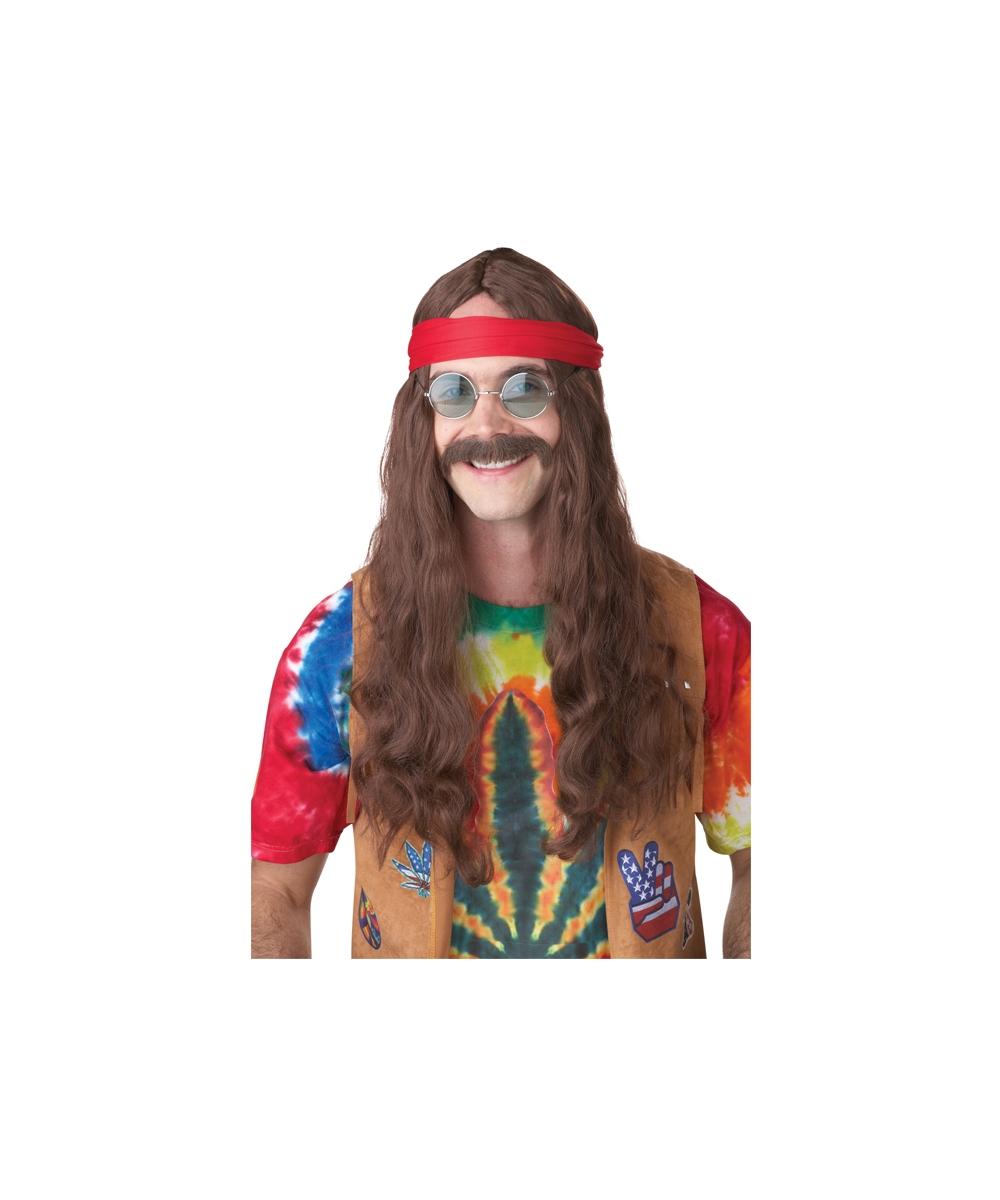 Adult Hippie Man Wig And Moustache Men Costume