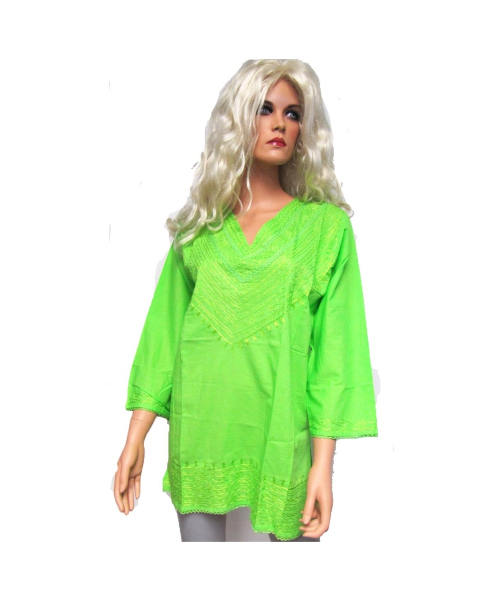 Lime Green Embroidered Bib Kurta