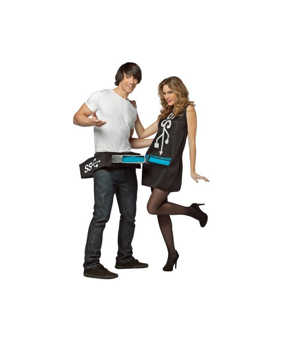 Adult Usb Port And Stick Costume Funny Adult Couple