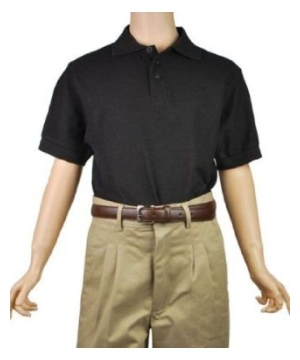 Sleeve Pique Polo School Uniforms Black