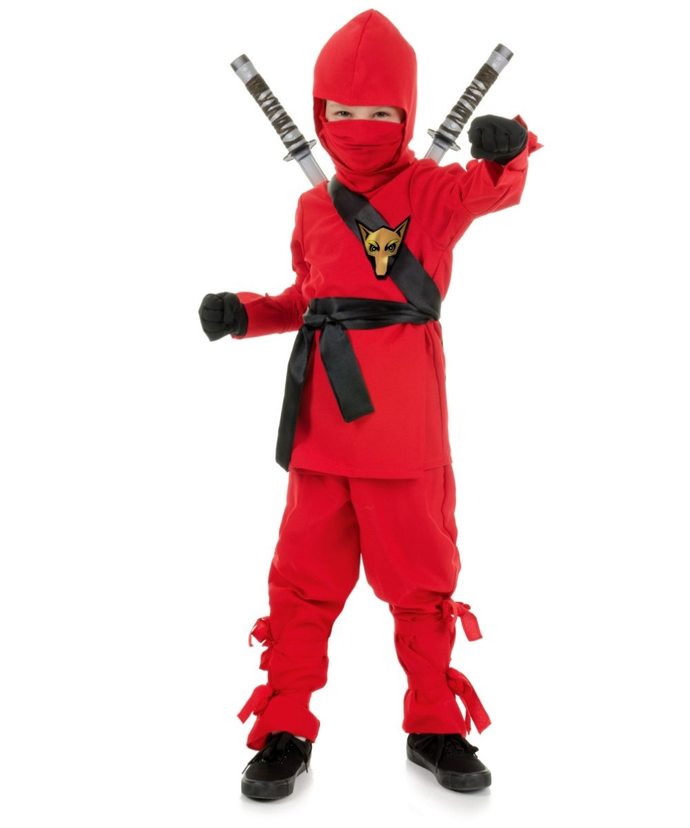 Ninja Kids Halloween Costume Red - Boys Asian Warrior Costume