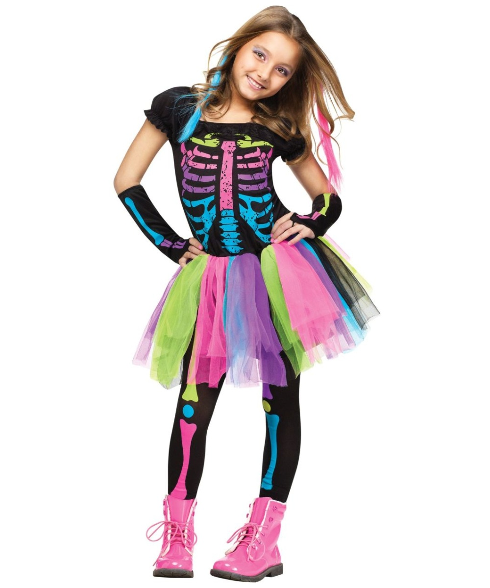 funky punky bones kids costume girls costume - Skeleton Halloween Costume For Kids