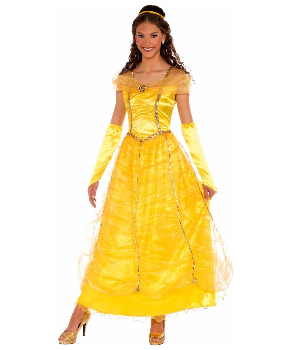 Adult gold princess disney costume women costumes - Costume princesse disney adulte ...