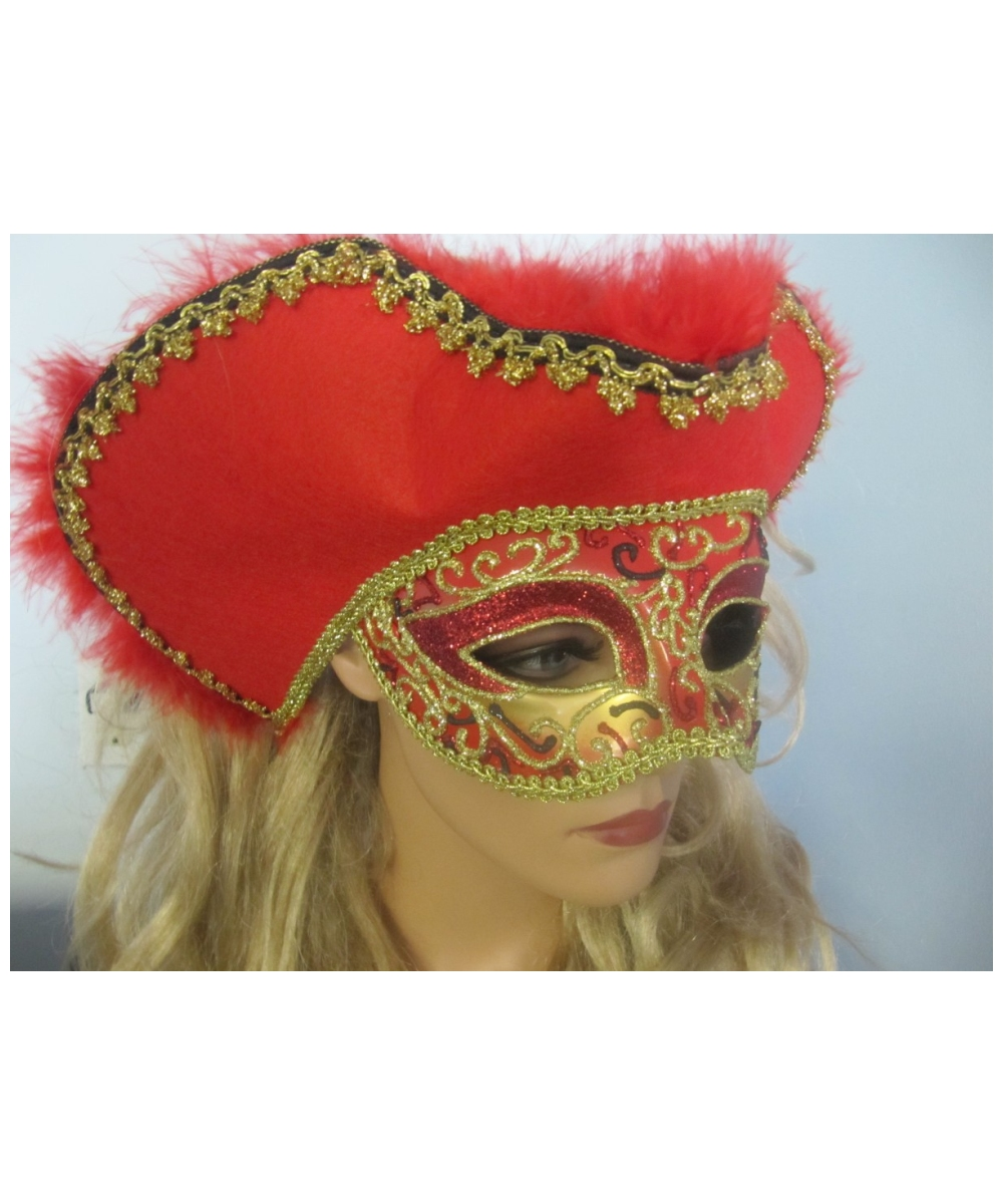 Adult Red Venetian Masquerade Mask - Costume Mask