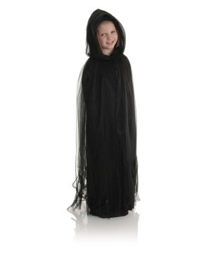 Black Tulle Kids Cape