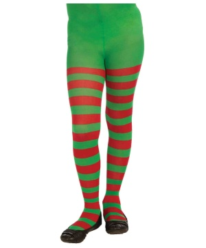Christmas Striped Tights Green Red