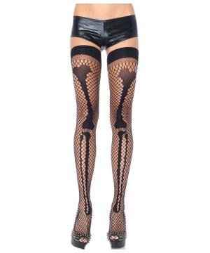Fishnet Leg Bone Thigh Highs