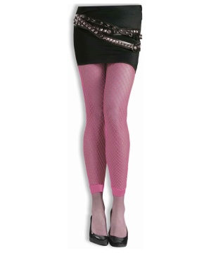 Footless Fishnet Tights Pink