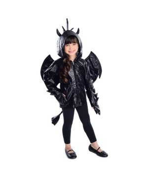 Girls Black Dragon Costume Hoodie